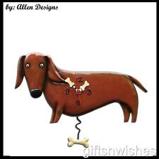 Deligntful Quirky OSCAR Brown DASCHUND  Allen Designs Pendulum Wall Clock