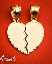 Real 10k Gold BROKEN HEART Double Sided Pendant Charm Piece Diamond Cut Design