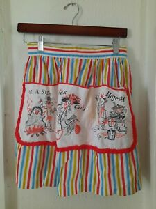 VINTAGE HALF APRON Yellow,  blue and red a striped with pockets.