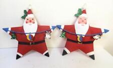 Vintage Set of 2 Dept 56 Christmas Santa Star Ornaments Metal
