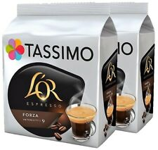 2 x Packs Tassimo L'OR Espresso Forza Intensity 9 T Discs Pods - 32 Drinks LOR