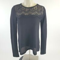 Lucky Brand Black Blouse Top Womens Size XS Embroidered Long Sleeve Knit Crew