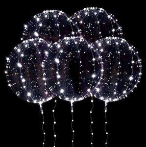 Set Of 5  Transparent White LED Light Up Balloons