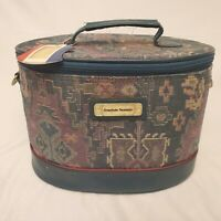 Vintage American Tourister Luggage Pattern Tapestry Makeup Train Case Carry Bag