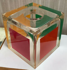 New ListingBeautiful Mod Lucite Clear Resin 6� Square Tissue Box Holder - Heavy