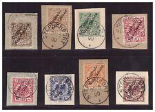DNG Satz Minr. 1- 6 mit Farben auf Luxus Briefstücken teils  gepr. BPP