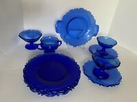 VTG Cobalt Blue Glass Mt Pleasant Lot Plates, Saucers Dessert Cups & Sugar Bowl