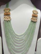 Babosa Sakhi Long Kundan Necklace Tea Green Bead String Bollywood Indian Jewelry