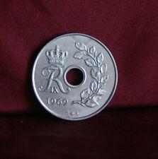 1969 Denmark 25 Ore World Coin KM855.1 Crowned FIXR monogram Frederik IX
