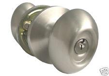 Entry Brushed Nickel Keyed Oval Egg Handle Knob Door Lock Kwikset Keyway
