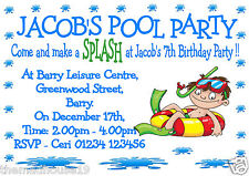 Personalised Boys Swimming Pool Party Birthday Party Invitations