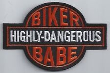 HIGHLY DANGEROUS BIKER BABE EMBROIDERED BIKER PATCH