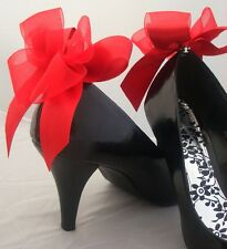Red Shoe Clips Bows For Shoes Burlesque Vintage Retro Goth Unusual Party Shoes