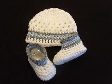 Handmade Crochet Baby Hat Booties Set White/ Blue & Gray  Newborn 3 Months