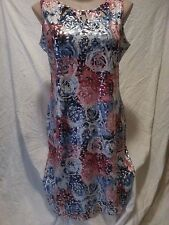Stunning surreal RED ROSE LEAF print  Party dinner celebration DRESS 20 NEW