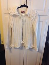 APRIL CORNELL , Cornell Trading Ivory Zip Front Ruffle Bow Sweater , Small