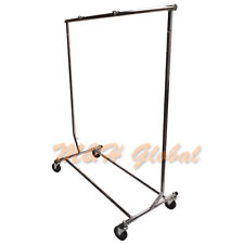 Adjustable Single Bar Clothing Rack Clothes Garment Hanger Display w/ Wheels