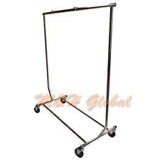 Adjustable Single Bar Clothing Rack Clothes Garment Hanger Display w/ Wheels