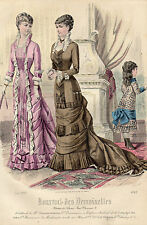 """73 / GRAVURE DE MODE """"  JOURNAL des DEMOISELLES """" 1880 SUPERBES COULEURS !"""