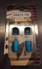 CLASSIC MINI COOPER GRAYSTON TYRE VALVE CAP SET BLUE ANODISED ALUMINIUM MTC6