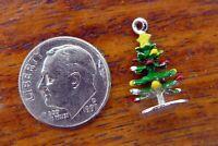 Vintage silver CHRISTMAS TREE STAR ORNAMENTS HOLIDAY ENAMEL charm NEW STOCK