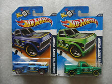 2x 2012 Hot Wheels - CUSTOM '69 CHEVY PICKUP - Green & Blue w/ redlines #140
