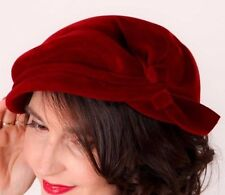 Stunning genuine 40s 50s vintage sculpted red velvet hat by Marten Model 1942?