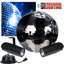 """New - 20"""" Mirror Ball Complete Party Kit with 2 LED Pinspots and Motor"""