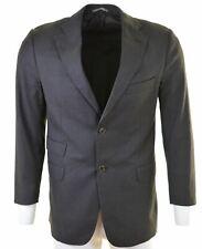 MASSIMO DUTTI Mens 2 Button Blazer Jacket EU 50 Large Grey Striped Wool  IR16