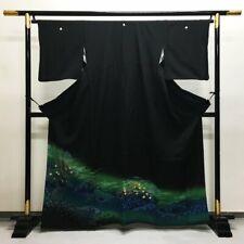 Japanisch Kimono Bademantel Kleid Strickjacke Jacke Schwarz Gold Sakura Tomesode
