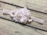 Vintage White Christening ,Baptism ,Flower Girl Baby/Toddler/Girl Headband