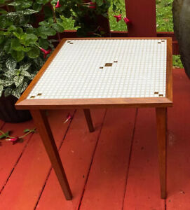 1- Vintage MCM GOLD Small Tile Mosaic Wood Side Table Tapered Legs THIS IS FOR 1
