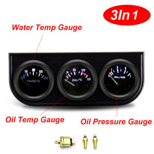 52mm 2inch Triple 3 in 1 Kit Oil Temperature Meter Oil Pressure Water Temp Gauge