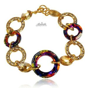 BRACELET ORIGINAL CRYSTALS *VOLCANO RING GOLD* GOLD PLATED SILVER CERTIFICATE