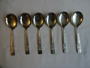 A SET OF STAINLESS CHROMIUM PLATED ONEIDA UNITY DESSERT SPOONS X 6