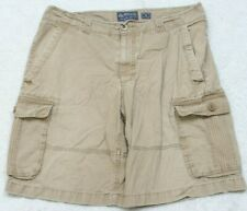 "Beige Cargo Shorts Solid 36"" X 11.5"" Flat Front Cotton Man's American Rag Cie"