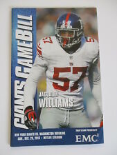 NEW YORK GIANTS GAMEBILL PROGRAM vs WASHINGTON REDSKINS 12/29 2013