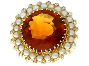 Vintage Dutch 13.46ct Citrine and Diamond, Pearl, and 14k Yellow Gold Dress Ring