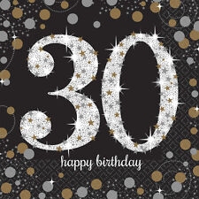 16X Negro 30 Años Servilletas Oro Plata 30th Cumpleaños Vajilla