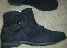 Boots Ankle Black Suede size 8.5 London Rebel Low Heel Buckle New