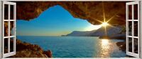 Huge 3D Panoramic Exoitic Tropical Beach Window View Wall Stickers Mural 121-1