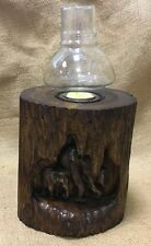 Large Fair Trade Hand Carved Teak Root Tea Light Holder with Lantern - 70079-61