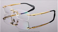 Pure Titanium rimless eyeglasses frame mens optical RX glasses business eyewear