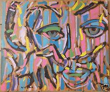 Visson portrait acrylique sur panneau acrylic painting