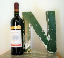 """1930s French Metal Letter N Shop Sign Painted Green ORIGINAL Industrial 10"""" Tall"""