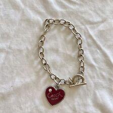Vintage Coach Heart Bracelet Silver
