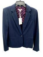 Tommy Hilfiger Womens Sz 6 Blazer Navy Blue One Button Knit Jacket NWT