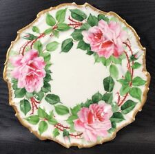 10� Hand Painted Pink Rose Cabinet Plate Ornate Makers Mark Crown W Mark 10L