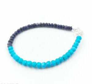 "Beautiful Sleeping Beauty Turquoise+Blue Sapphire Gemstone Beaded Bracelets 7""."