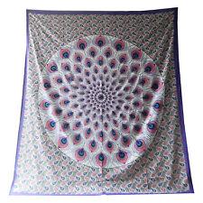 Copriletto matrimoniale indiano Piume di Pavone viola grigio 230x210 cm cotone